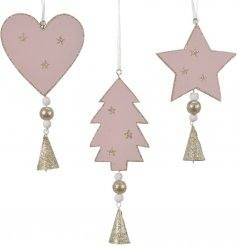 A mix of 3 wooden hanging decorations in star, heart and tree designs.