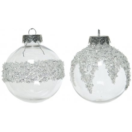 A mix of 2 shimmering shatterproof baubles each with a silver beaded design.