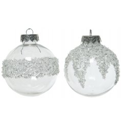 An assortment of 2 shatterproof baubles, each with a silver glitter ice finish.