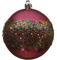 A bold and beautiful shatterproof bauble with a band of sprinkle coloured sequins