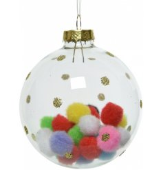 A colourful and quirky glass bauble encasing multi-coloured pom poms.