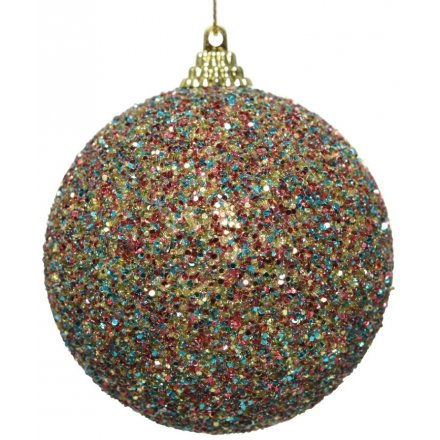 A shimmering multi-coloured bauble with rainbow glitter. A fun and festive decoration for your home this season.