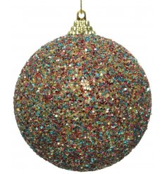 A beautiful jewel coloured bauble with gold cap and hanger.