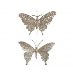 An assortment of 2 shimmering butterfly decorations, each with a pearl finish.