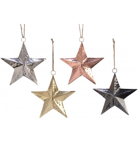 Silver, gold, copper and anthracite coloured three-dimensional star decorations with a hammered surface finish.