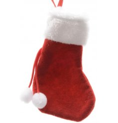 A cute mini stocking with fur trim and pom poms. A unique decoration and gift wrap solution this season.