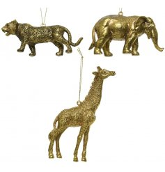Leopard, Giraffe and Elephant hanging decorations with a luxe gold finish and patterned detailing.
