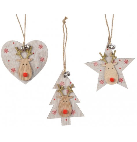 These shabby chic heart, star and tree decorations are adorned with a cute wooden Rudolf reindeer head