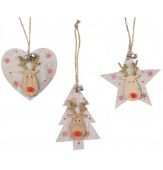 An assortment of 3 wooden reindeer decorations in star, heart and tree designs.