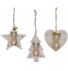 An assortment of 3 star, heart and tree wooden hanging decorations with a gold glitter reindeer design.