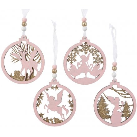 A mix of 4 enchanted baubles featuring fairy, unicorn, reindeer and angel designs.