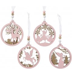 Fairy, angel, reindeer and horse magical baubles, with gold glitter detailing and matching beads.