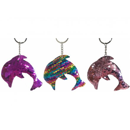An assortment of funky sequin covered keyrings in a dolphin form