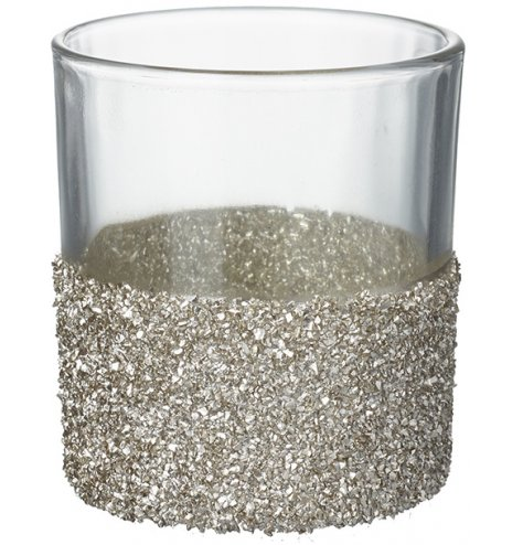 A glamorous glass t-light holder decorated with a champagne gold, crushed glass band.
