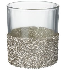 A charming T-light holder with a touch of shimmer and glitter detail.