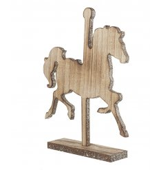 A magical wooden horse with a gold glitter trim.