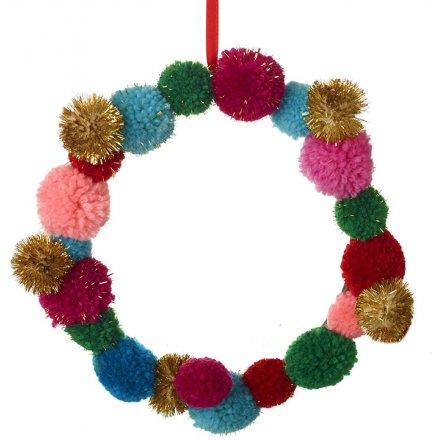Multi Pom Pom Wreath