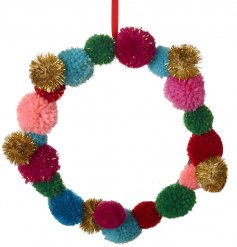 A multicoloured array of woollen pompoms presented in a wreath.
