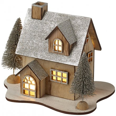 Wood & Silver Light Up House