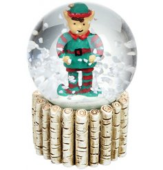 A jolly elf within a  snowglobe. A lovely Christmas accessory for a child.