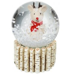A sweet small reindeer in a red scarf snowglobe.