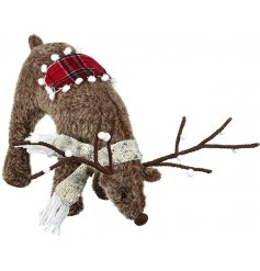 Bring a Woodland charm to your home interiors or displays with this sweet fuzzy standing Reindeer Decoration