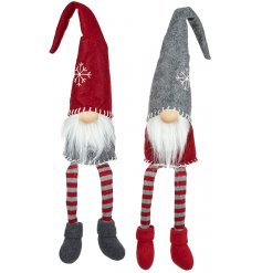 Two assorted sitting gnomes in red and grey with long dangling legs.