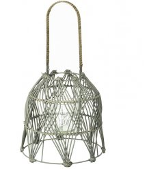 A beautifully woven bamboo lantern featuring a glass insert and long hanging handle