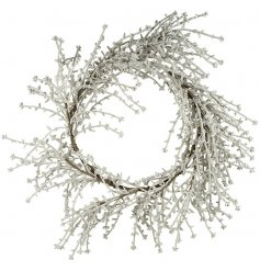 A simple silver frosted wreath.