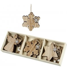 A set of wooden hanging decorations in three different designs. Natural decorations for a woodland themed Christmas.