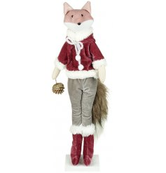A Pretty Romantic themed fabric standing fox decoration dressed up in festive red velvet clothes and complete with a bu