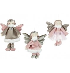 A mix of three charming silver and pink hanging angels