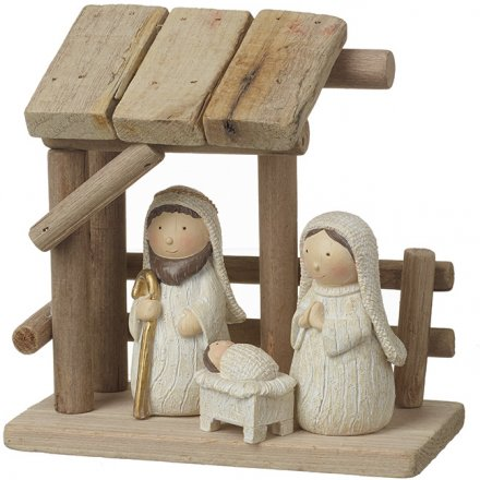 Natural Wooden Nativity With Figures