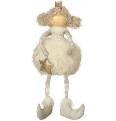 A cute little fabric angel decorations perfectly complimented by a puffy faux fur skirt and charming fabric accents