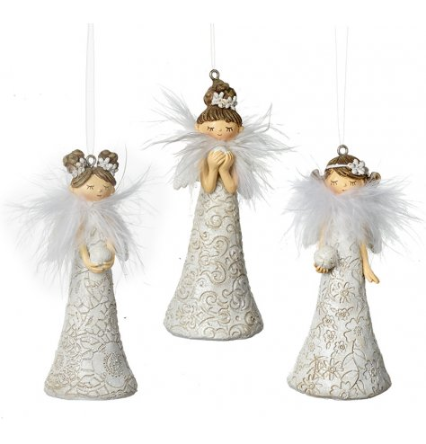 An assortment of 3 floral dreaming angels. Each has an intricate pattern engraved on each dress