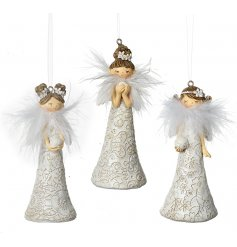 An assortment of 3 hanging angel figures in different poses and each complete with a faux feather accent