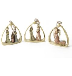 A mix of sweet polyresin nativity scene hanging decorations