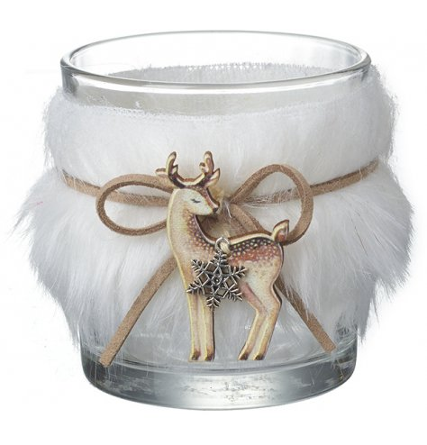 A super stylish glass t-light holder with a shaggy faux fur trim, bound with a PU leather bow and reindeer figure.