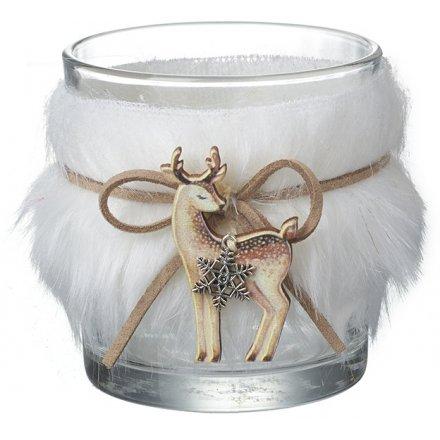 White Faux Fur Candle Pot