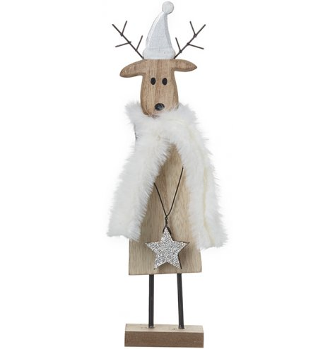 A unique wooden reindeer decoration with metal antlers, a silver glitter Santa hat and star medallion