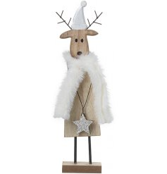 A cute wooden deer decoration dressed up in a snuggly soft white scarf
