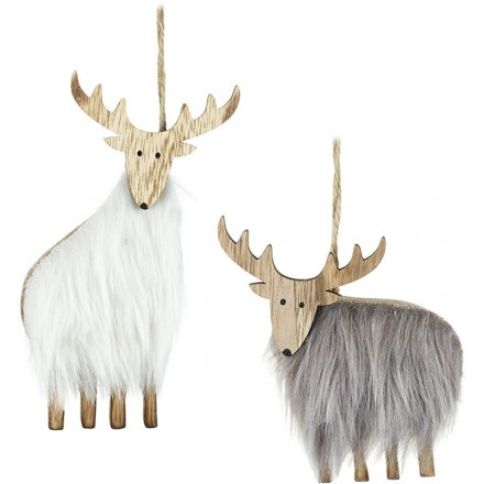 Hanging Fuzzy Fur Reindeer Decorations