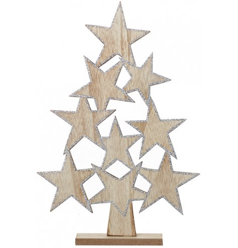 A stunning and unique wooden Christmas tree created with perfectly placed stars.