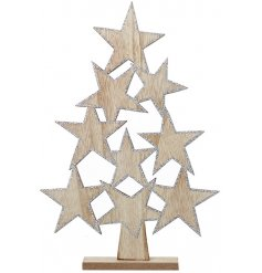 A charmingly simple wooden star tree decoration with an added silver glitter outlining