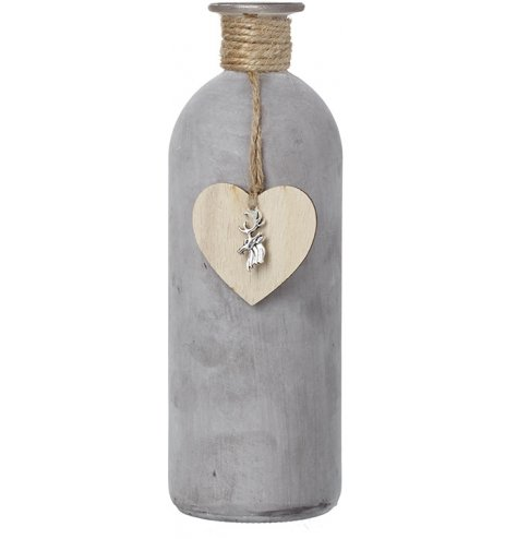 An elegant tall glass bottle with a painted grey finish which creates an on trend industrial aesthetic.