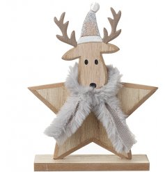 A cute wooden star decoration with an added Reindeer feature and snuggly soft grey scarf decal