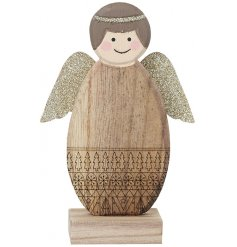 A cute little wooden angel decoration covered with golden glittery wings and a patterned body decal