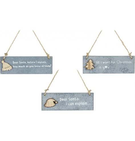 An assortment of 3 slate effect hanging signs, each with a wooden hat or tree motif.