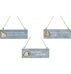 A charming assortment of hanging wooden plaques featuring a distressed grey base tone and scripted text decal