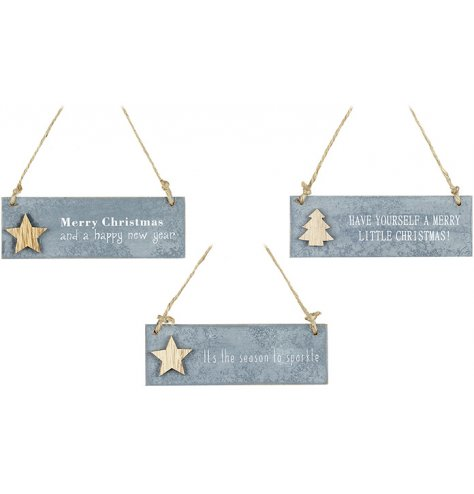 An assortment of 3 slate effect hanging signs, each with a wooden star or tree motif and a popular Christmas slogan.